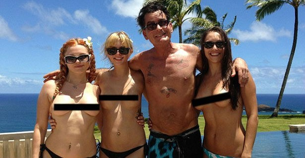 Charlie sheen with three porn stars